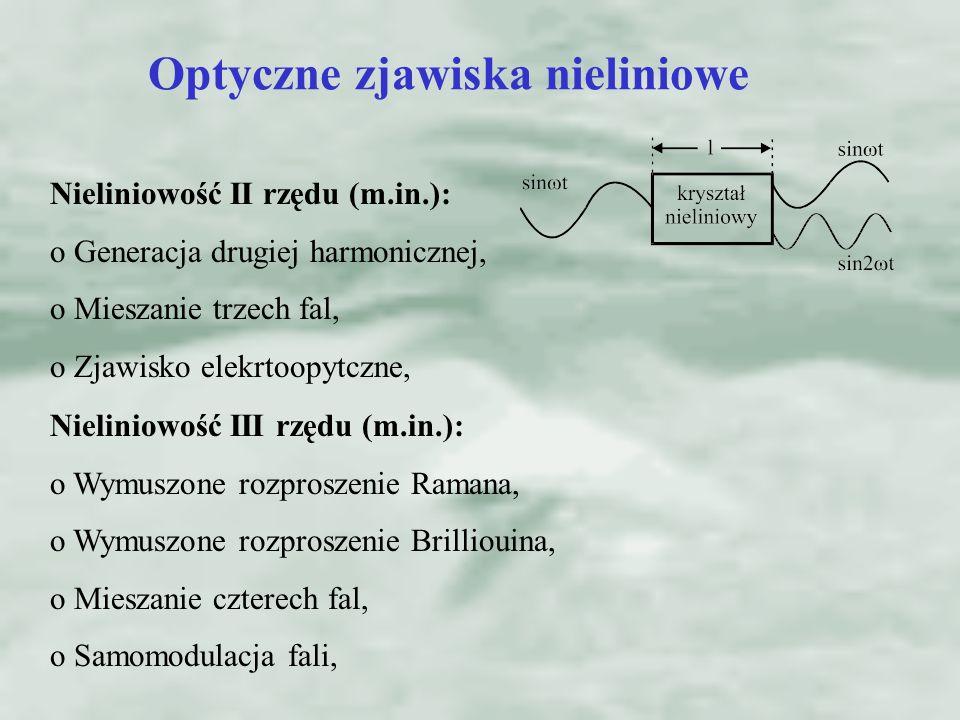 Optyczne zjawiska nieliniowe Nieliniowość II rzędu (m.in.): o Generacja drugiej harmonicznej, o Mieszanie trzech fal, o Zjawisko elekrtoopytczne, Niel