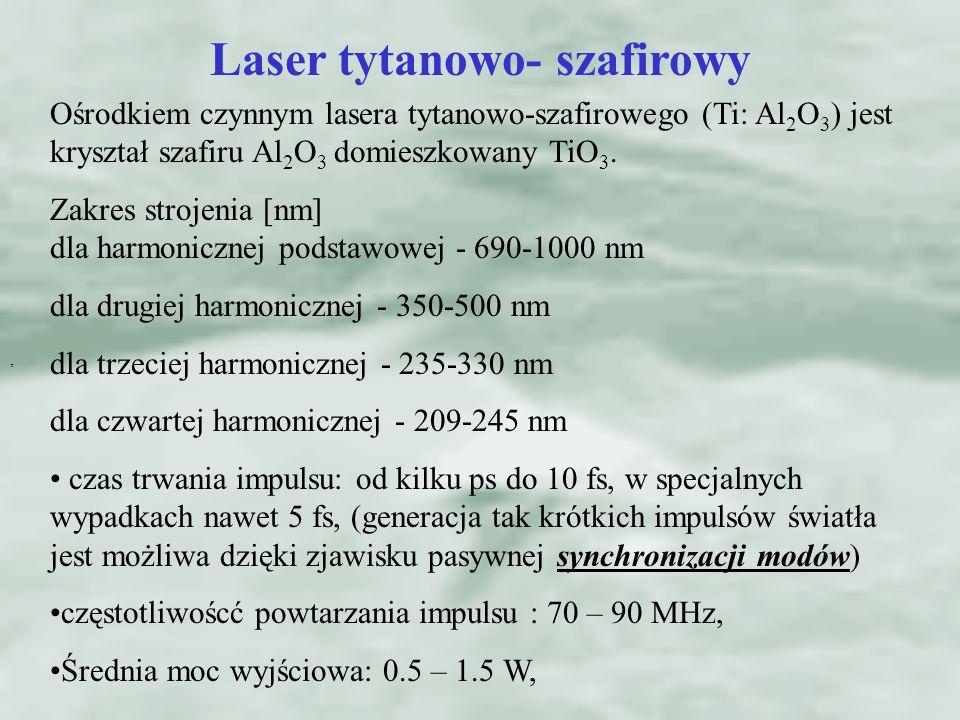 , Laser tytanowo- szafirowy Ośrodkiem czynnym lasera tytanowo-szafirowego (Ti: Al 2 O 3 ) jest kryształ szafiru Al 2 O 3 domieszkowany TiO 3.