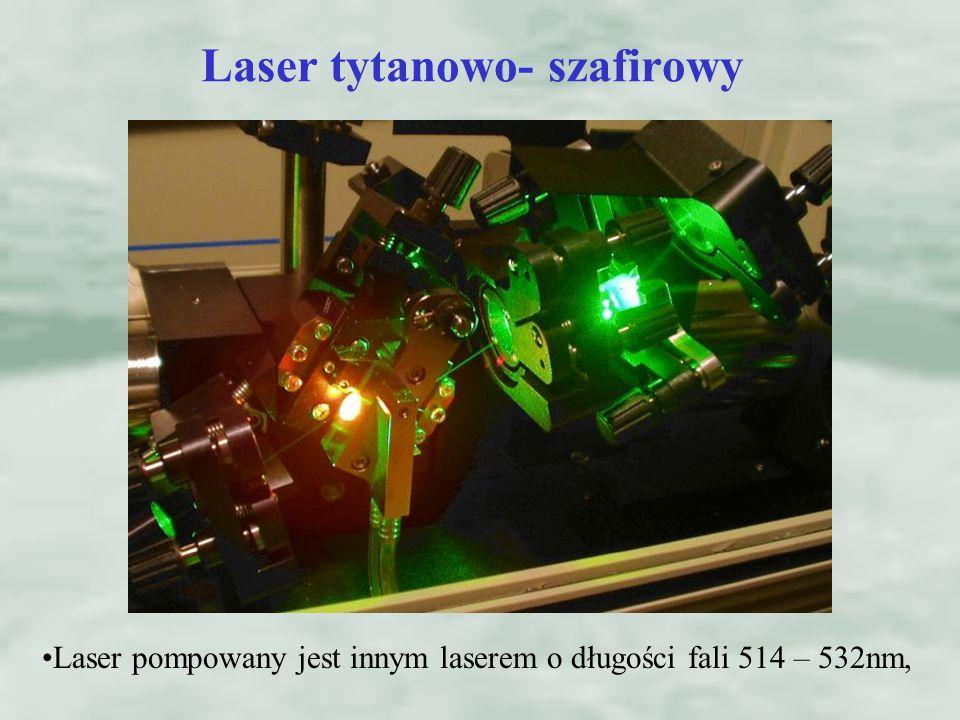 Laser pompowany jest innym laserem o długości fali 514 – 532nm, Laser tytanowo- szafirowy