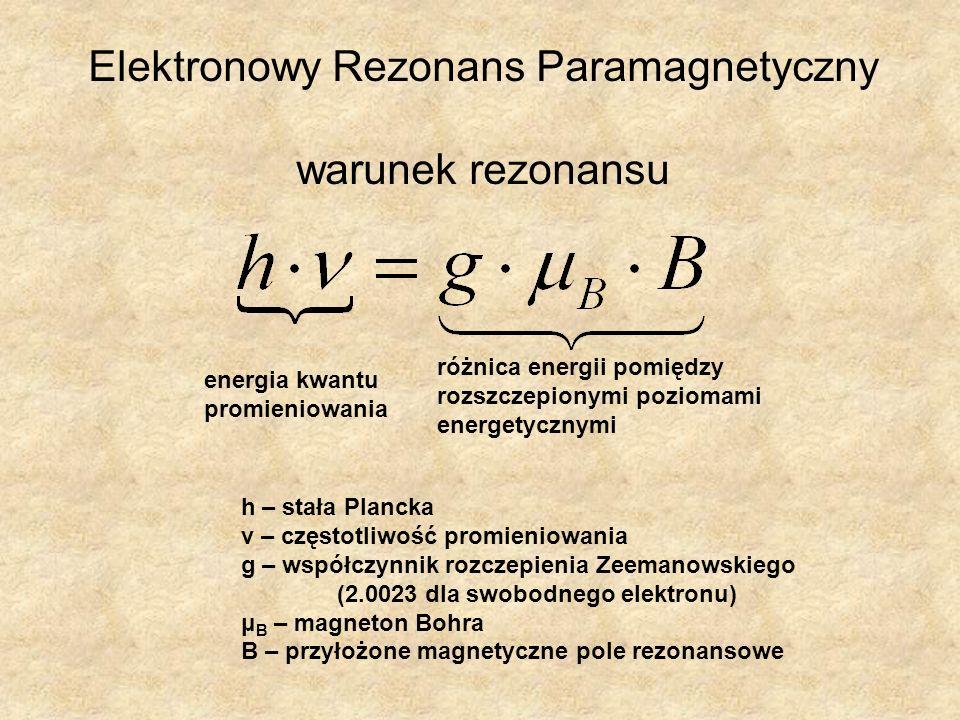 h – stała Plancka ν – częstotliwość promieniowania g – współczynnik rozczepienia Zeemanowskiego (2.0023 dla swobodnego elektronu) μ B – magneton Bohra