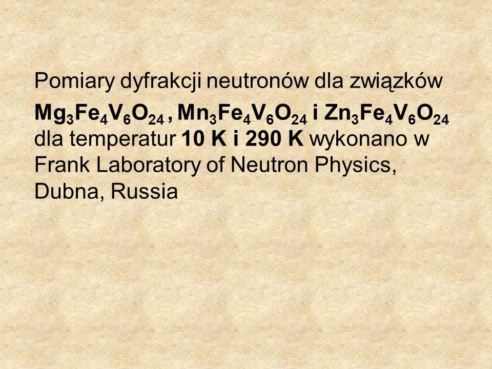 Pomiary dyfrakcji neutronów dla związków Mg 3 Fe 4 V 6 O 24, Mn 3 Fe 4 V 6 O 24 i Zn 3 Fe 4 V 6 O 24 dla temperatur 10 K i 290 K wykonano w Frank Labo