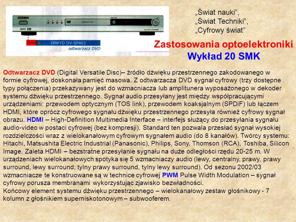 Odtwarzacz DVD (Digital Versatile Disc)– źródło dźwięku przestrzennego zakodowanego w formie cyfrowej, doskonała pamięć masowa. Z odtwarzacza DVD sygn