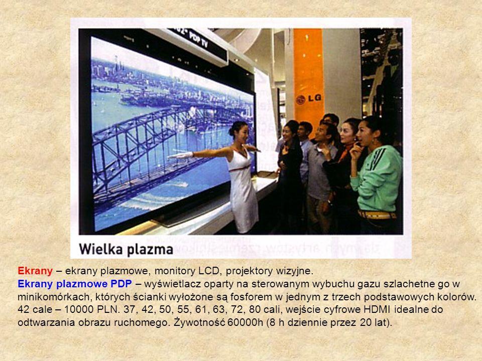 Ekrany – ekrany plazmowe, monitory LCD, projektory wizyjne. Ekrany plazmowe PDP – wyświetlacz oparty na sterowanym wybuchu gazu szlachetne go w miniko
