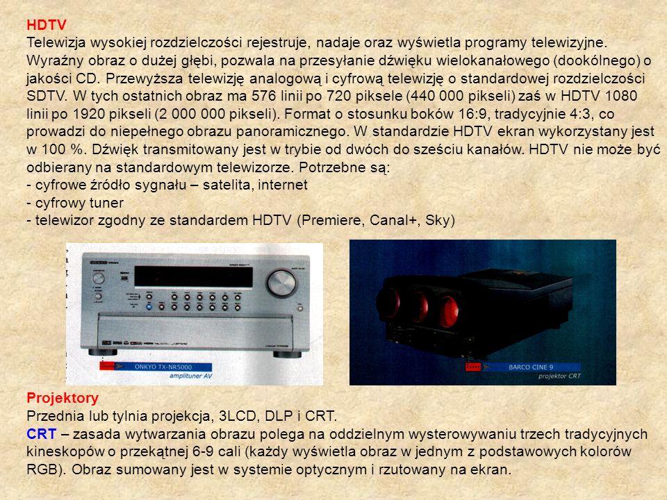 HDTV Telewizja wysokiej rozdzielczości rejestruje, nadaje oraz wyświetla programy telewizyjne. Wyraźny obraz o dużej głębi, pozwala na przesyłanie dźw