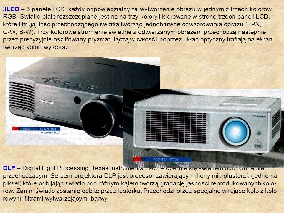 3LCD – 3 panele LCD, każdy odpowiedzialny za wytworzenie obrazu w jednym z trzech kolorów RGB. Światło białe rozszczepiane jest na na trzy kolory i ki