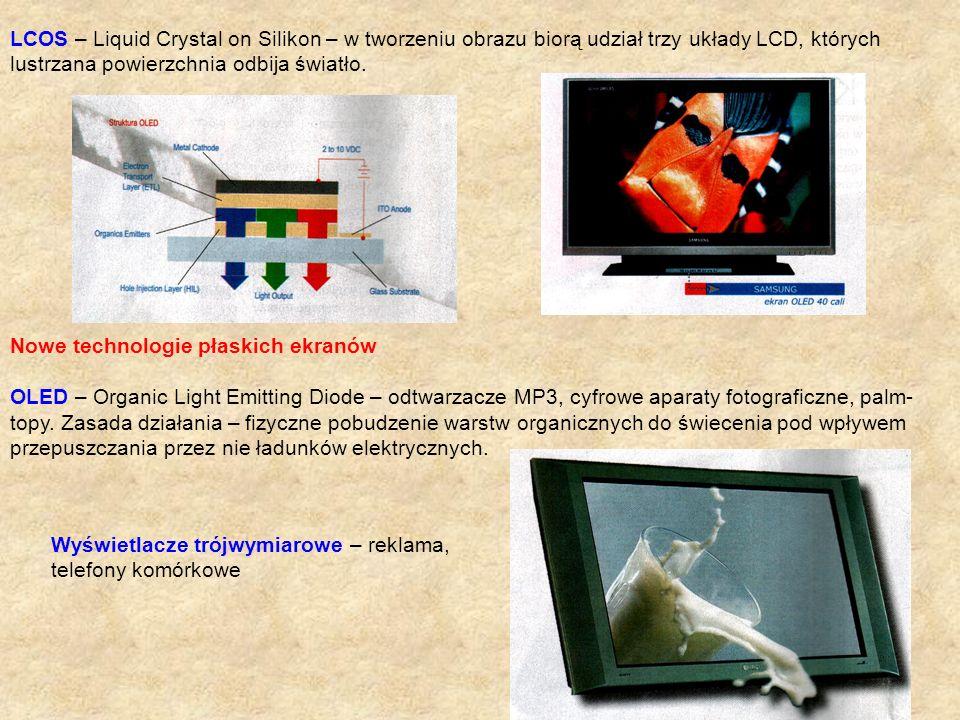 LCOS – Liquid Crystal on Silikon – w tworzeniu obrazu biorą udział trzy układy LCD, których lustrzana powierzchnia odbija światło. Nowe technologie pł