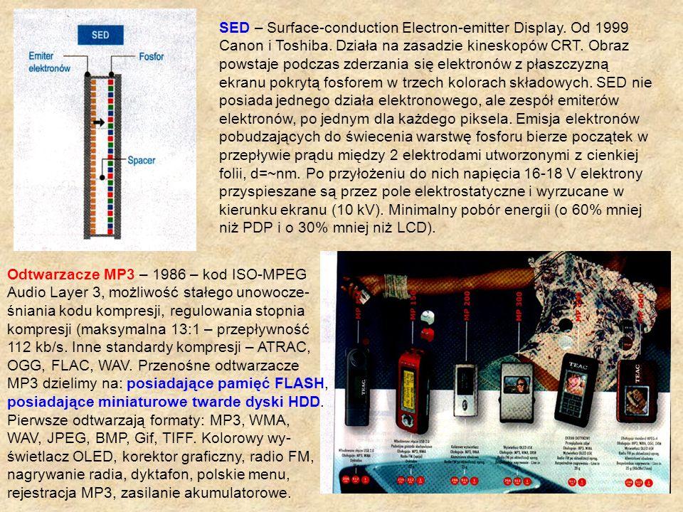 SED – Surface-conduction Electron-emitter Display. Od 1999 Canon i Toshiba. Działa na zasadzie kineskopów CRT. Obraz powstaje podczas zderzania się el