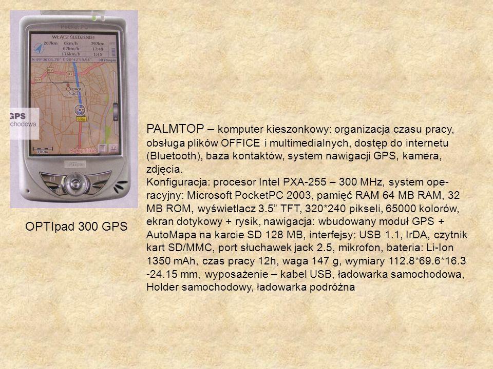 PALMTOP – komputer kieszonkowy: organizacja czasu pracy, obsługa plików OFFICE i multimedialnych, dostęp do internetu (Bluetooth), baza kontaktów, sys