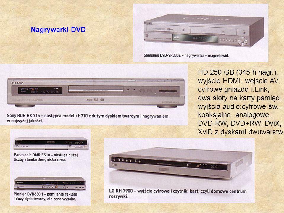 Nagrywarki DVD HD 250 GB (345 h nagr.), wyjście HDMI, wejście AV, cyfrowe gniazdo i.Link, dwa sloty na karty pamięci, wyjścia audio:cyfrowe św., koaks
