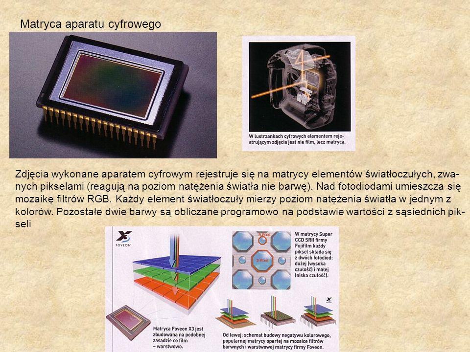 Matryca aparatu cyfrowego Zdjęcia wykonane aparatem cyfrowym rejestruje się na matrycy elementów światłoczułych, zwa- nych pikselami (reagują na pozio