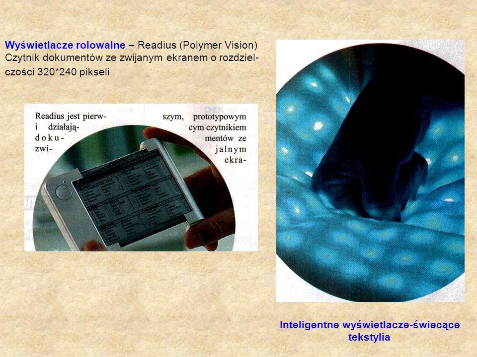 Inteligentne wyświetlacze-świecące tekstylia Wyświetlacze rolowalne – Readius (Polymer Vision) Czytnik dokumentów ze zwijanym ekranem o rozdziel- czoś