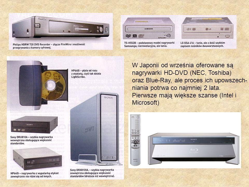 W Japonii od września oferowane są nagrywarki HD-DVD (NEC, Toshiba) oraz Blue-Ray, ale proces ich upowszech- niania potrwa co najmniej 2 lata. Pierwsz