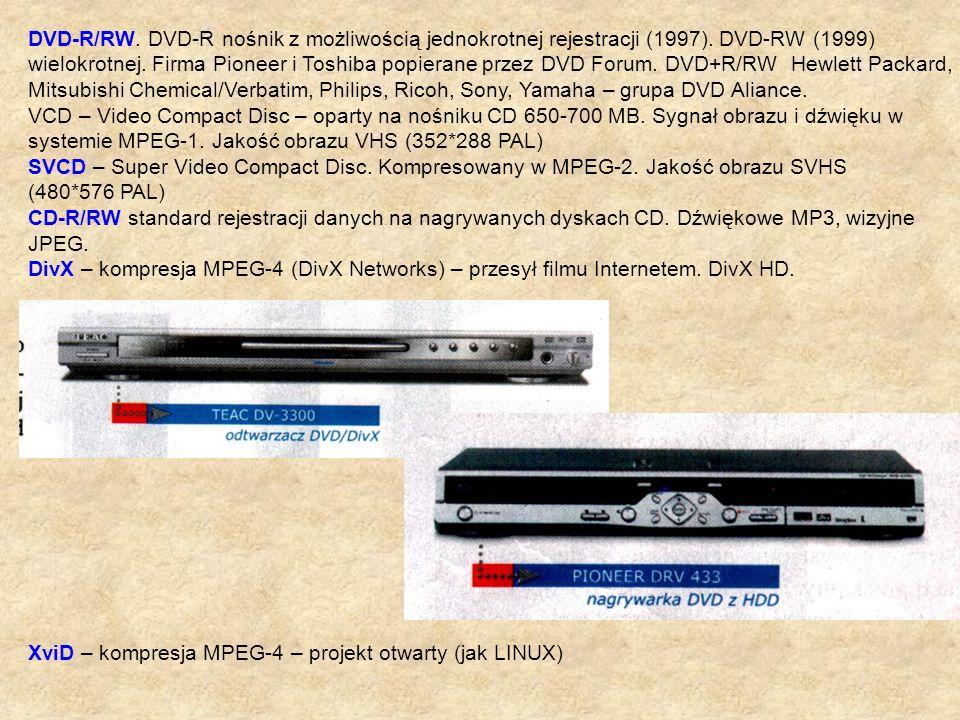 DVD-R/RW. DVD-R nośnik z możliwością jednokrotnej rejestracji (1997). DVD-RW (1999) wielokrotnej. Firma Pioneer i Toshiba popierane przez DVD Forum. D