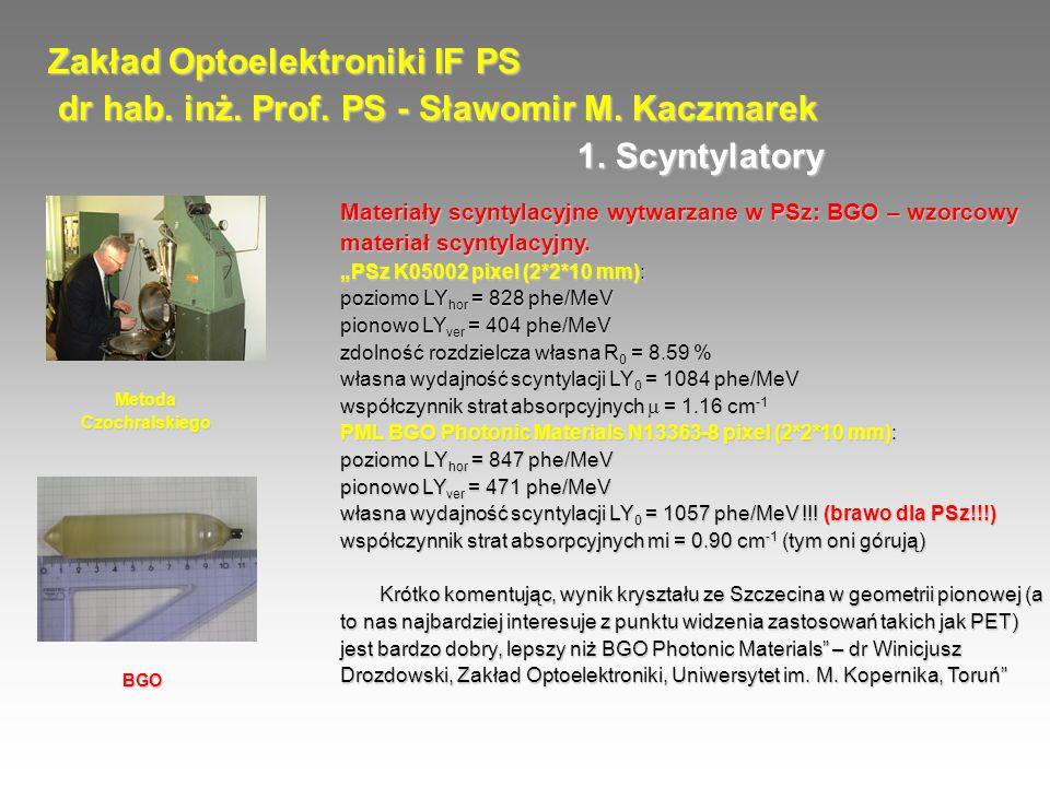Zakład Optoelektroniki IF PS dr hab. inż. Prof. PS - Sławomir M. Kaczmarek dr hab. inż. Prof. PS - Sławomir M. Kaczmarek Materiały scyntylacyjne wytwa