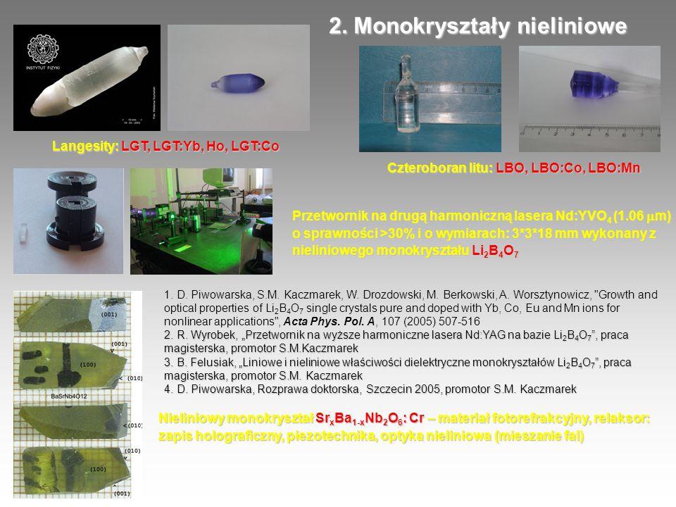 Przetwornik na drugą harmoniczną lasera Nd:YVO 4 (1.06 m) o sprawności >30% i o wymiarach: 3*3*18 mm wykonany z nieliniowego monokryształu Li 2 B 4 O