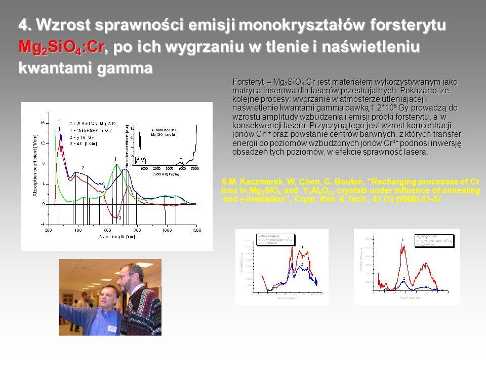 4. Wzrost sprawności emisji monokryształów forsterytu Mg 2 SiO 4 :Cr, po ich wygrzaniu w tlenie i naświetleniu kwantami gamma Forsteryt – Mg 2 SiO 4 :