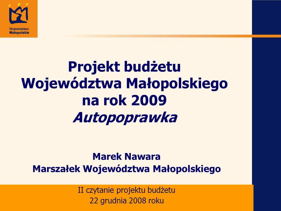 Projekt budżetu Województwa Małopolskiego na rok 2009 Autopoprawka Marek Nawara Marszałek Województwa Małopolskiego II czytanie projektu budżetu 22 grudnia 2008 roku