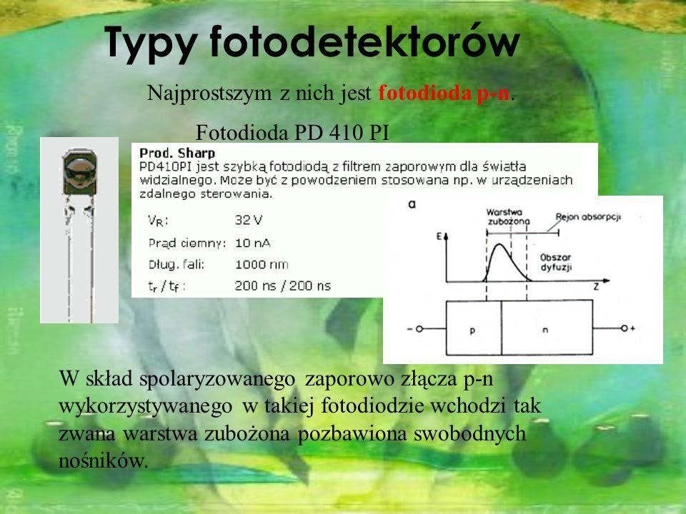 Najprostszym z nich jest fotodioda p-n. Typy fotodetektorów Fotodioda PD 410 PI W skład spolaryzowanego zaporowo złącza p-n wykorzystywanego w takiej