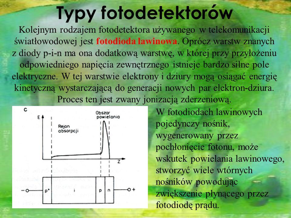 Kolejnym rodzajem fotodetektora używanego w telekomunikacji światłowodowej jest fotodioda lawinowa. Oprócz warstw znanych z diody p-i-n ma ona dodatko