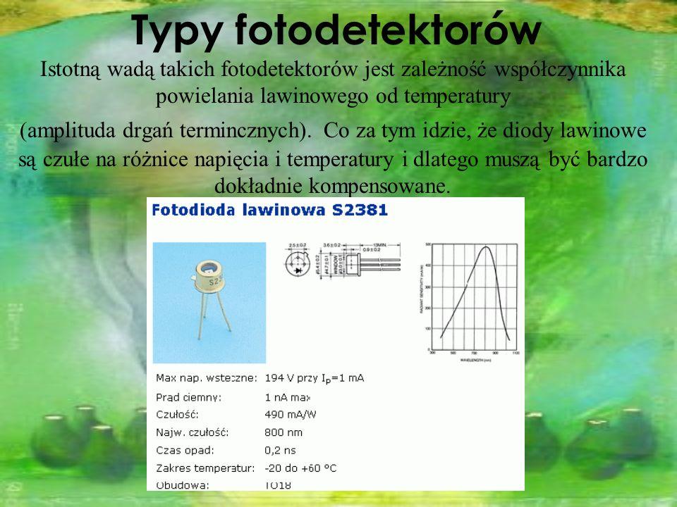 Istotną wadą takich fotodetektorów jest zależność współczynnika powielania lawinowego od temperatury (amplituda drgań termincznych). Co za tym idzie,
