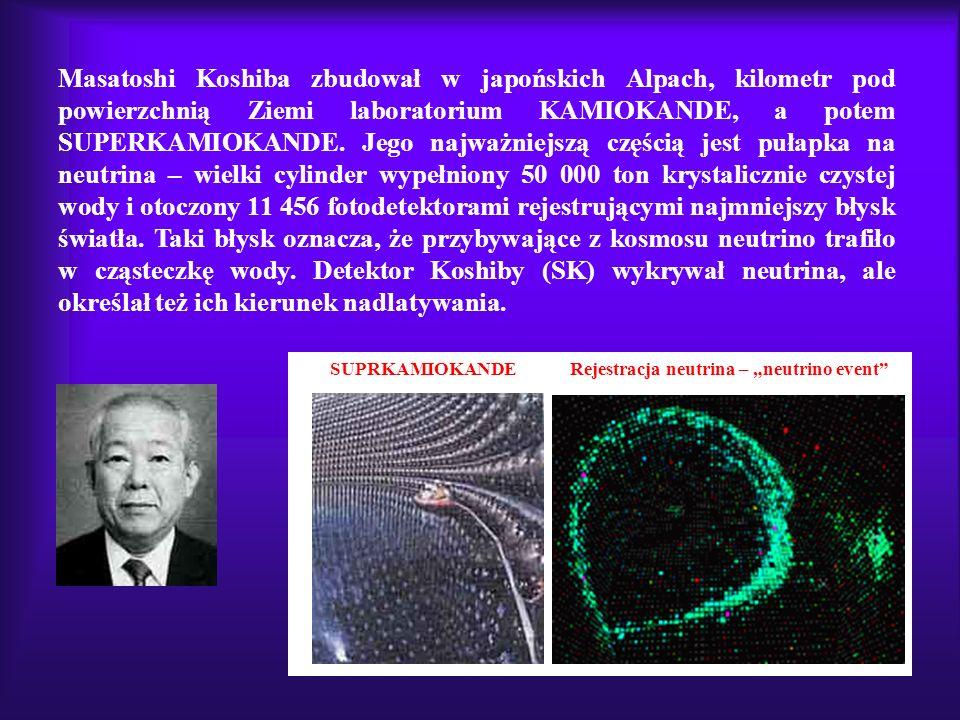 SUPRKAMIOKANDE Rejestracja neutrina – neutrino event Masatoshi Koshiba zbudował w japońskich Alpach, kilometr pod powierzchnią Ziemi laboratorium KAMI