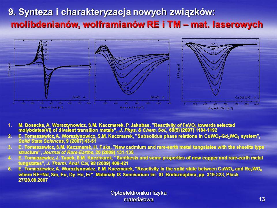 Optoelektronika i fizyka materiałowa13 9. Synteza i charakteryzacja nowych związków: molibdenianów, wolframianów RE i TM – mat. laserowych molibdenian