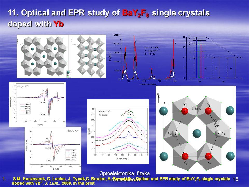 Optoelektronika i fizyka materiałowa15 11. Optical and EPR study of BaY 2 F 8 single crystals doped with Yb 1. 1. S.M. Kaczmarek, G. Leniec, J. Typek,