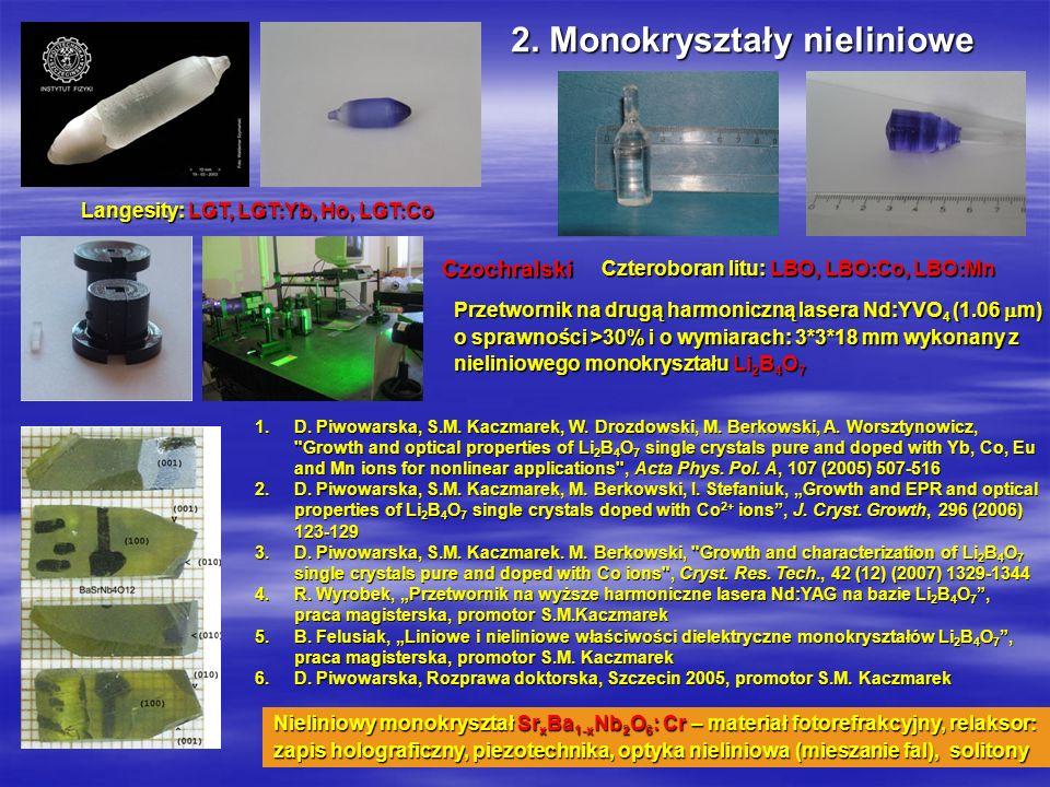 Optoelektronika i fizyka materiałowa2 Przetwornik na drugą harmoniczną lasera Nd:YVO 4 (1.06 m) o sprawności >30% i o wymiarach: 3*3*18 mm wykonany z