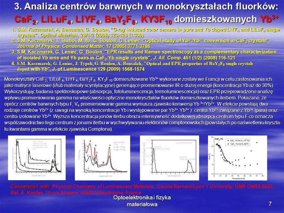 Optoelektronika i fizyka materiałowa7 1. S.M. Kaczmarek, A. Bensalah, G. Boulon,