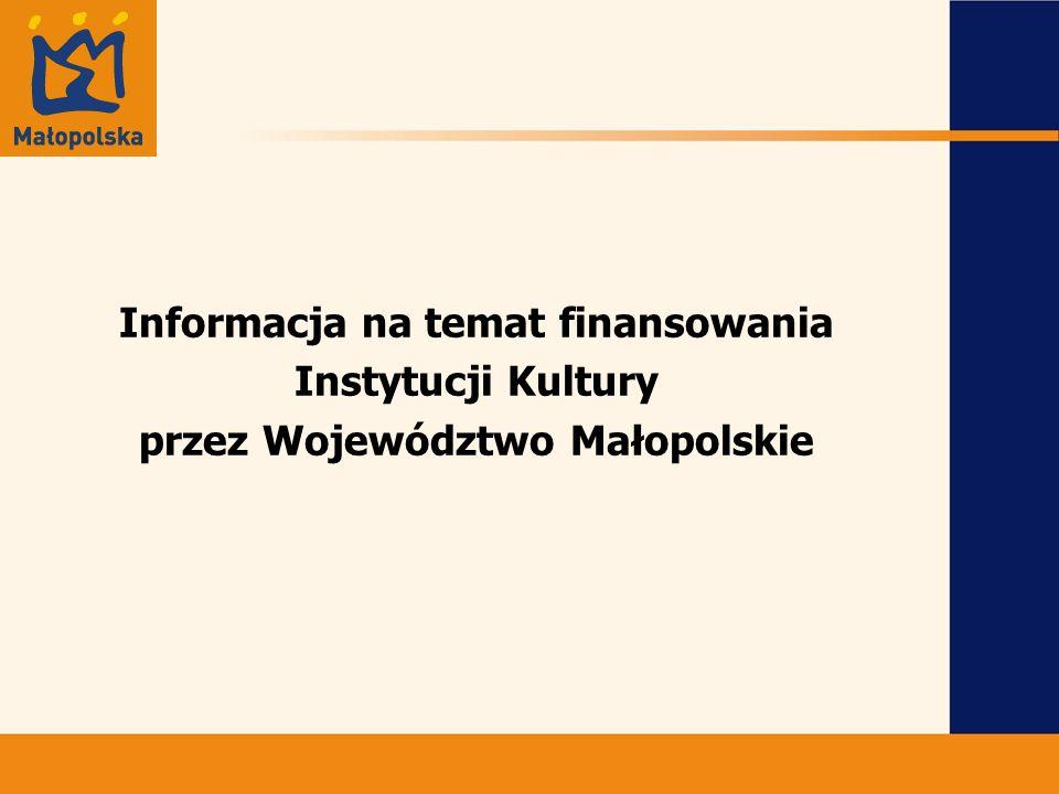 Informacja na temat finansowania Instytucji Kultury przez Województwo Małopolskie