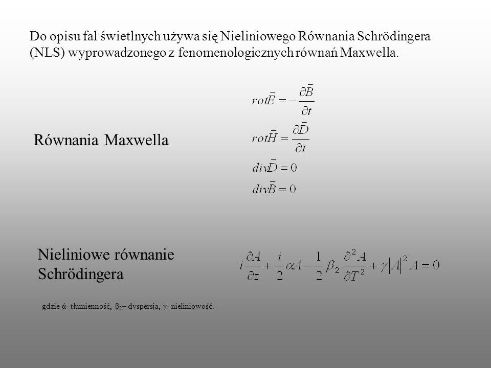 Do opisu fal świetlnych używa się Nieliniowego Równania Schrödingera (NLS) wyprowadzonego z fenomenologicznych równań Maxwella. Równania Maxwella Niel
