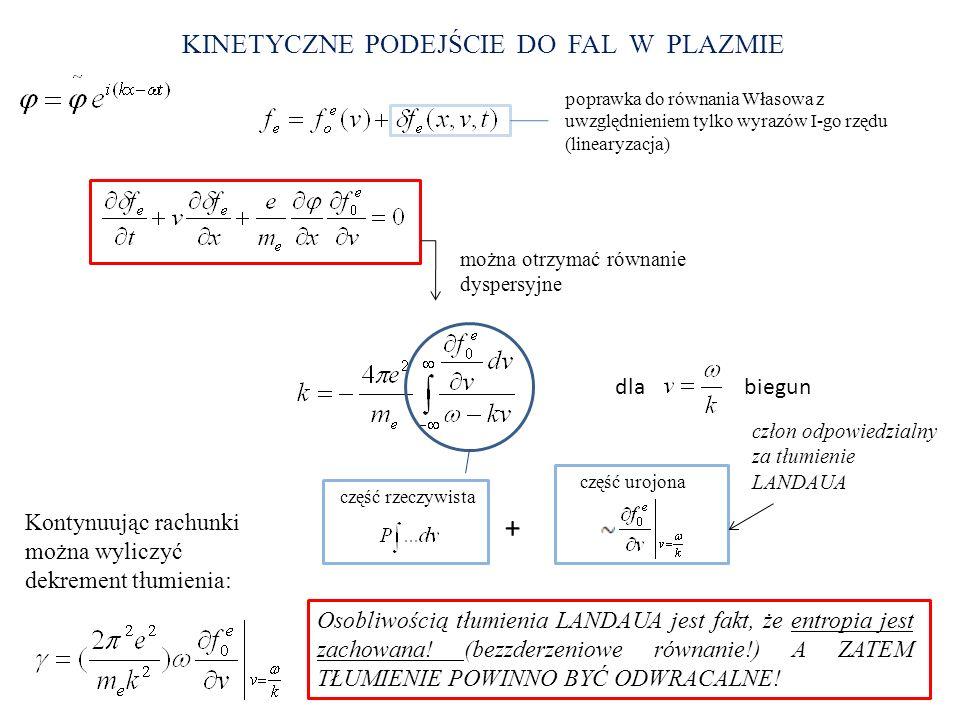 KINETYCZNE PODEJŚCIE DO FAL W PLAZMIE poprawka do równania Własowa z uwzględnieniem tylko wyrazów I-go rzędu (linearyzacja) można otrzymać równanie dy