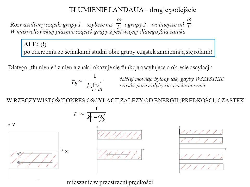 TŁUMIENIE LANDAUA – drugie podejście Rozważaliśmy cząstki grupy 1 – szybsze niż i grupy 2 – wolniejsze od. W maxwellowskiej plazmie cząstek grupy 2 je