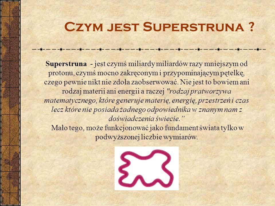 Superstruna - jest czymś miliardy miliardów razy mniejszym od protonu, czymś mocno zakręconym i przypominającym pętelkę, czego pewnie nikt nie zdoła z