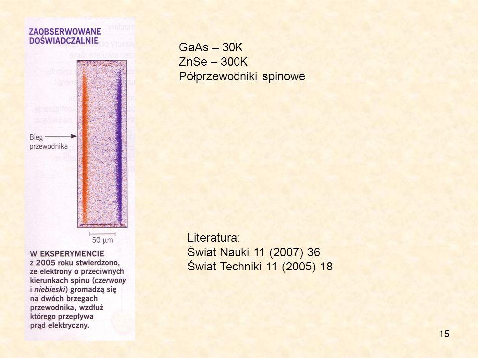 15 GaAs – 30K ZnSe – 300K Półprzewodniki spinowe Literatura: Świat Nauki 11 (2007) 36 Świat Techniki 11 (2005) 18