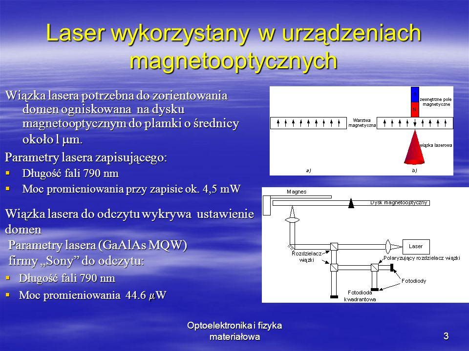 Optoelektronika i fizyka materiałowa4 Laser w czytnikach kodu kreskowego Laser w czytnikach kodu kreskowego ma za zadanie: zogniskowanie wiązki odchylanej przez wirujący pryzmat lub wahliwie oscylujące wielokątne zwierciadło zogniskowanie wiązki odchylanej przez wirujący pryzmat lub wahliwie oscylujące wielokątne zwierciadło Wiązka periodycznie omiata powierzchnie z kodem kreskowym Wiązka periodycznie omiata powierzchnie z kodem kreskowym Parametry: długość fali promieniowania od 630 do 675 nmdługość fali promieniowania od 630 do 675 nm moc promieniowania od 0.2 do 1 mW (w czytnikach przemysłowych 7 mW)moc promieniowania od 0.2 do 1 mW (w czytnikach przemysłowych 7 mW) temperatura przechowywania -20 60 Ctemperatura przechowywania -20 60 C temperatura pracy -10 50 Ctemperatura pracy -10 50 C