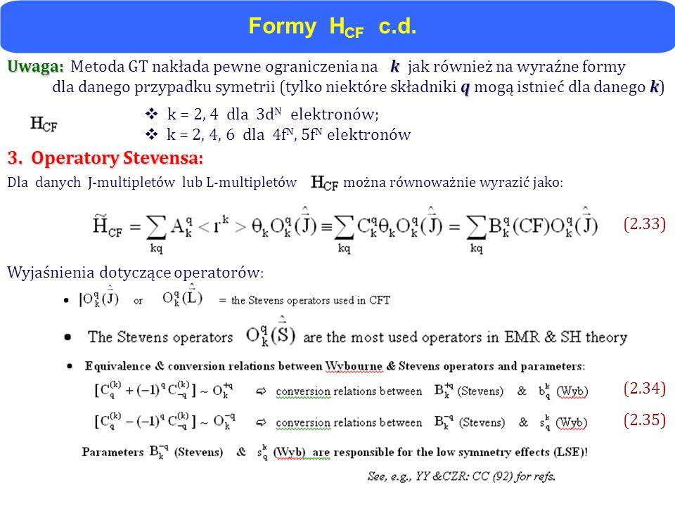 Uwaga: k Uwaga: Metoda GT nakłada pewne ograniczenia na k jak również na wyraźne formy qk dla danego przypadku symetrii (tylko niektóre składniki q mo