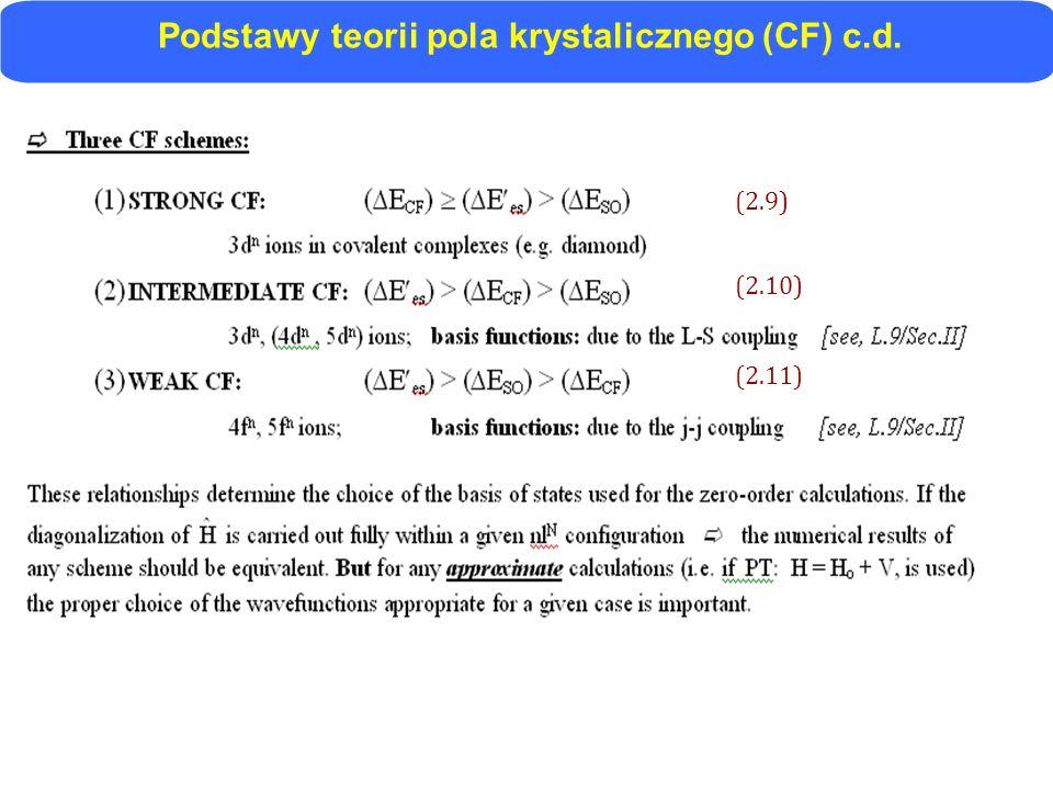 Podstawy teorii pola krystalicznego (CF) c.d. (2.9) (2.10) (2.11)