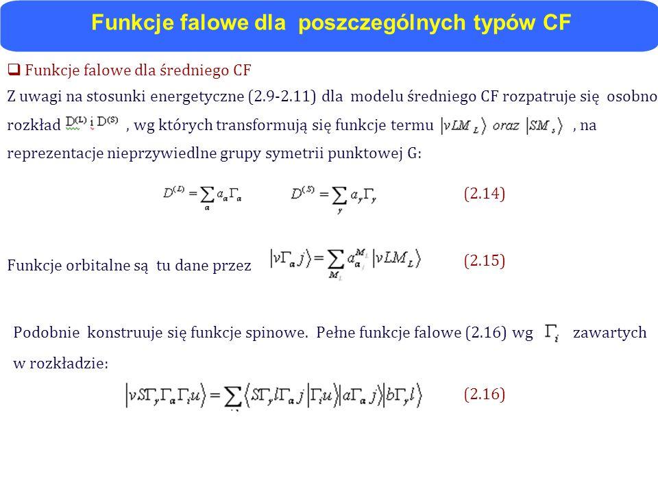 Funkcje falowe dla średniego CF Z uwagi na stosunki energetyczne (2.9-2.11) dla modelu średniego CF rozpatruje się osobno rozkład, wg których transfor