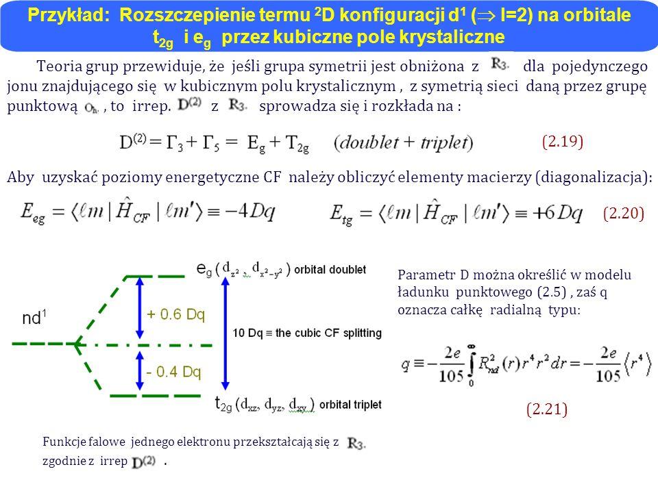 Funkcje falowe jednego elektronu przekształcają się z zgodnie z irrep.. Teoria grup przewiduje, że jeśli grupa symetrii jest obniżona z dla pojedyncze