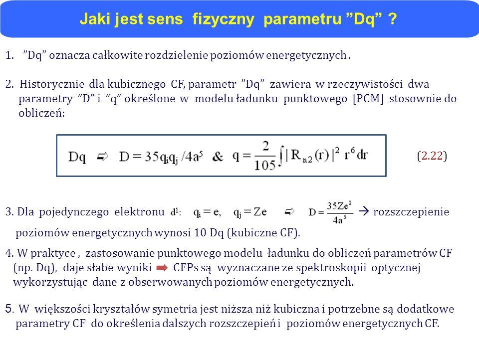 3. Dla pojedynczego elektronu rozszczepienie poziomów energetycznych wynosi 10 Dq (kubiczne CF). 4. W praktyce, zastosowanie punktowego modelu ładunku