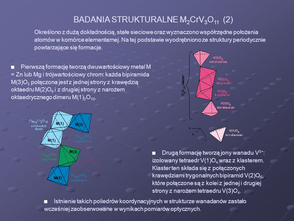 Określono z dużą dokładnością, stałe sieciowe oraz wyznaczono współrzędne położenia atomów w komórce elementarnej. Na tej podstawie wyodrębniono ze st