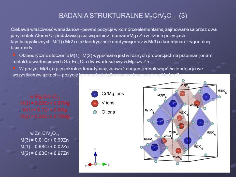 w Mg 2 CrV 3 O 11 M(3) = 0.03Cr + 0.97Mg M(1) = 0.7Cr + 0.3Mg M(2) = 0.24Cr + 0.76Mg Ciekawa właściwość wanadanów - pewne pozycje w komórce elementarn