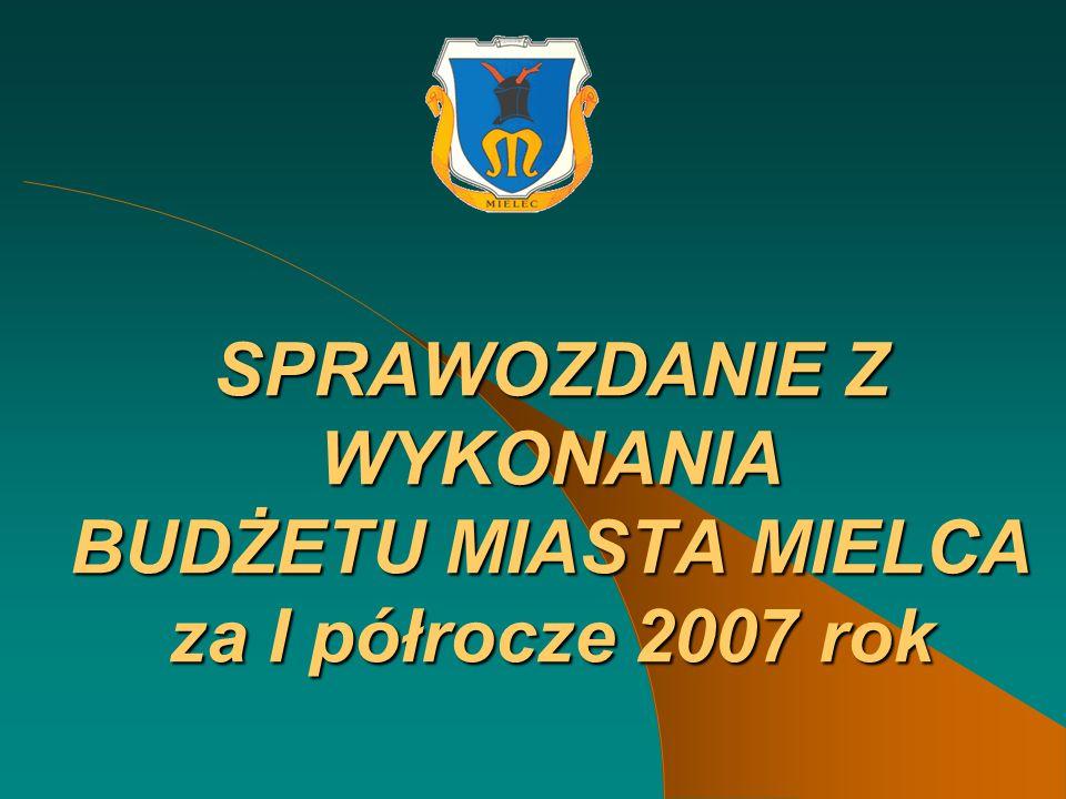 SPRAWOZDANIE Z WYKONANIA BUDŻETU MIASTA MIELCA za I półrocze 2007 rok