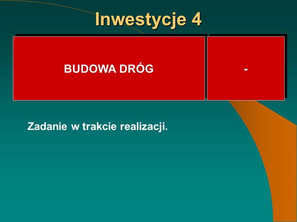 Inwestycje 4 BUDOWA DRÓG - - Zadanie w trakcie realizacji.