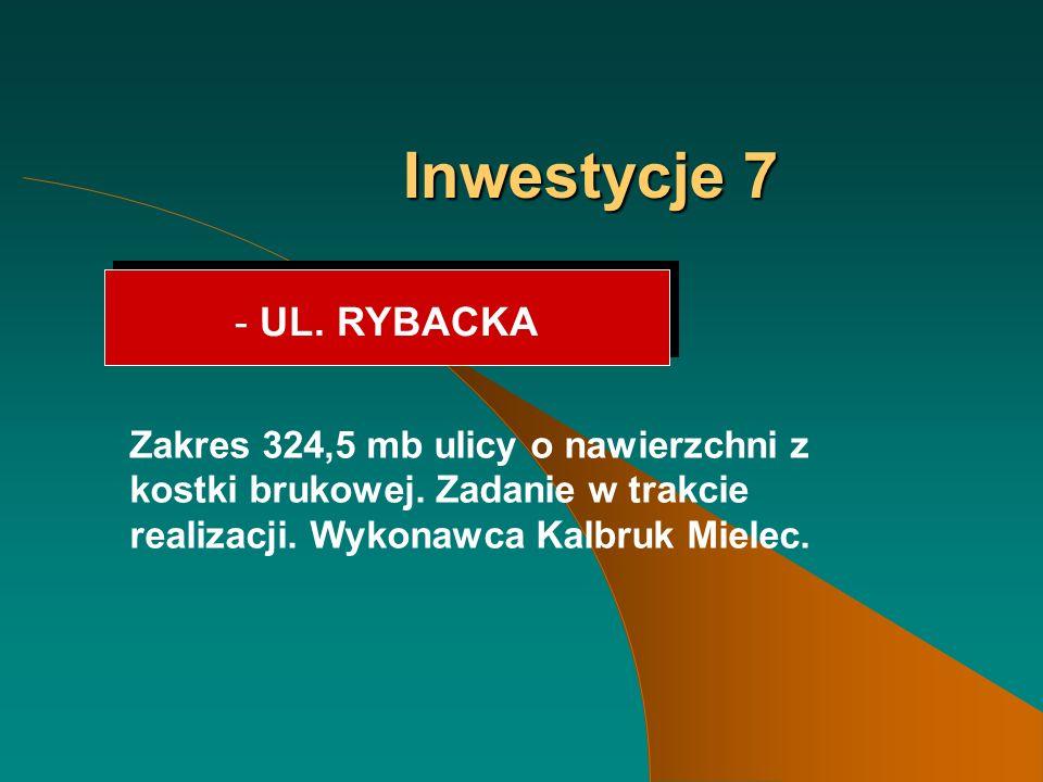Inwestycje 7 - UL. RYBACKA Zakres 324,5 mb ulicy o nawierzchni z kostki brukowej.