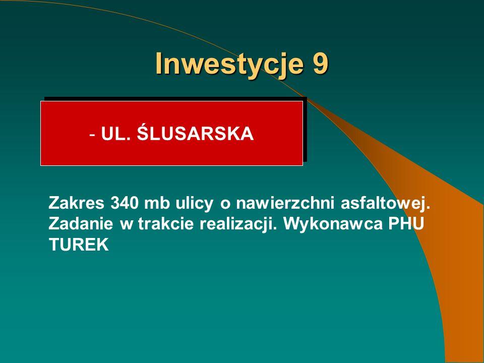 Inwestycje 9 - UL. ŚLUSARSKA Zakres 340 mb ulicy o nawierzchni asfaltowej.