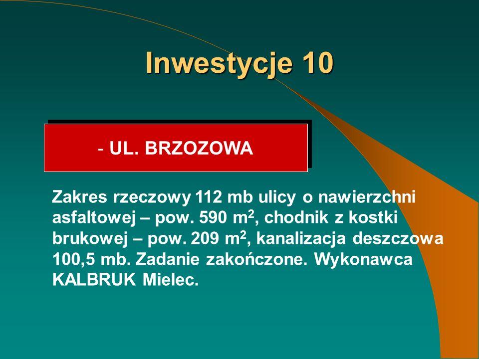 Inwestycje 10 - UL. BRZOZOWA Zakres rzeczowy 112 mb ulicy o nawierzchni asfaltowej – pow.