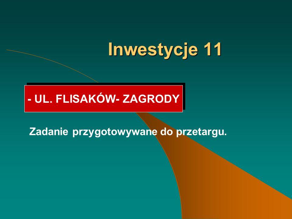 Inwestycje 11 - UL. FLISAKÓW- ZAGRODY Zadanie przygotowywane do przetargu.