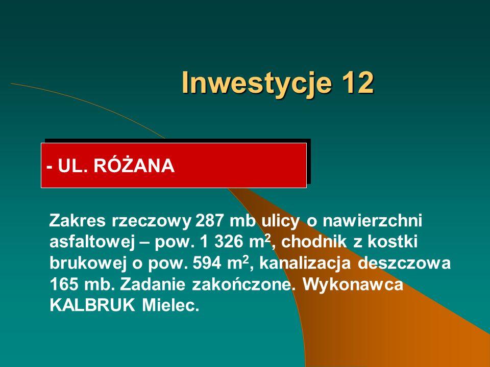 Inwestycje 12 - UL. RÓŻANA Zakres rzeczowy 287 mb ulicy o nawierzchni asfaltowej – pow.